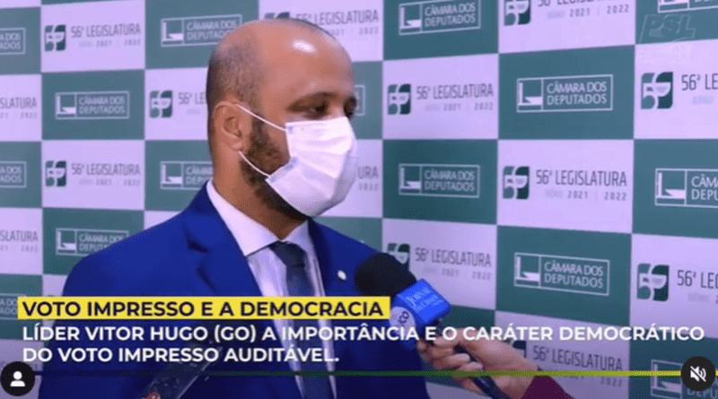 O líder do PSL na Câmara, deputado Vitor Hugo (GO), defendeu a importância do voto impresso auditável