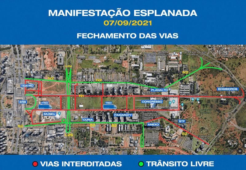 Fechamento das vias em Brasília